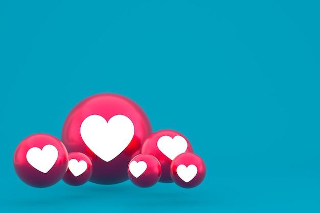 Love icon facebook reacties emoji 3d render, social media ballonsymbool op blauw