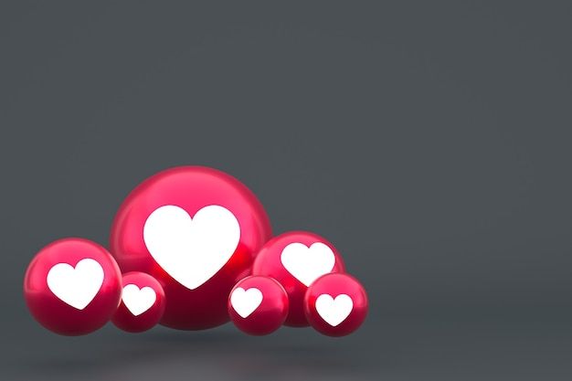 Love icon facebook reacties emoji 3d render, social media ballonsymbool op grijs