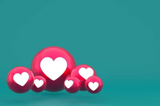 Love icon facebook reacties emoji 3d render, social media ballonsymbool op groen