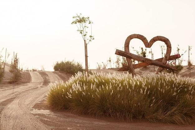 Love lake heart shaped landscape in dubai