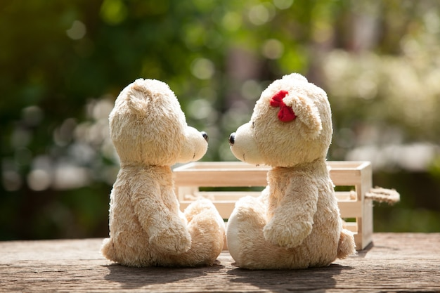 Lovely kiss teddy bear on wood and wooden box concept van liefde en tederheid