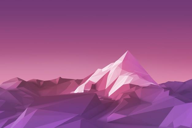 Low-poly afbeelding van een berg met bovenaan een witte gletsjer