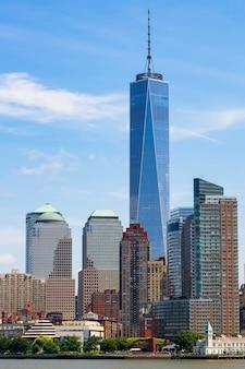 Lower manhattan wolkenkrabbers, new york, verenigde staten.
