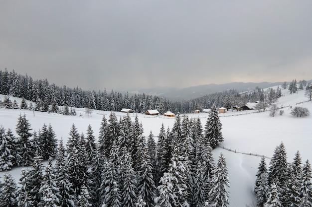 Lucht winterlandschap met kleine landelijke huizen tussen besneeuwde bossen in koude bergen.