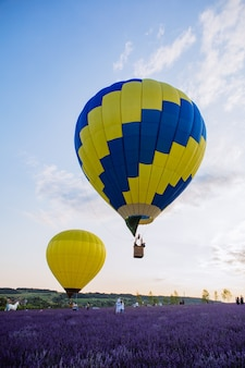 Luchtballon met mand boven lavendelveld kopieerruimte