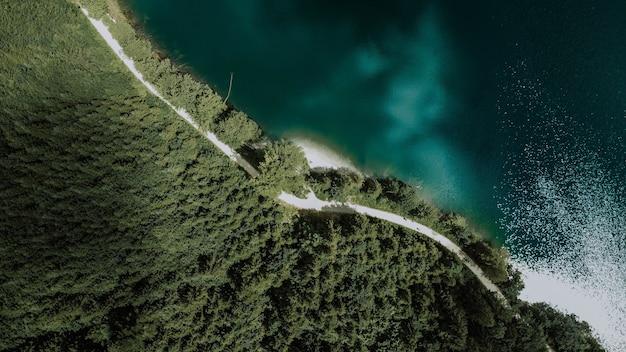 Luchtfoto boven het hoofd van een lang grijs pad dat door een dicht bos naast helderblauw water leidt