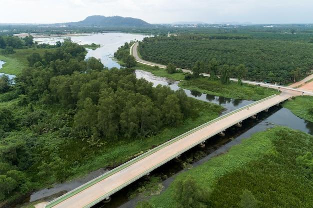 Luchtfoto drone shot van weg tussen groen veld zomer bos en rivier en meer in suratthani thailand.