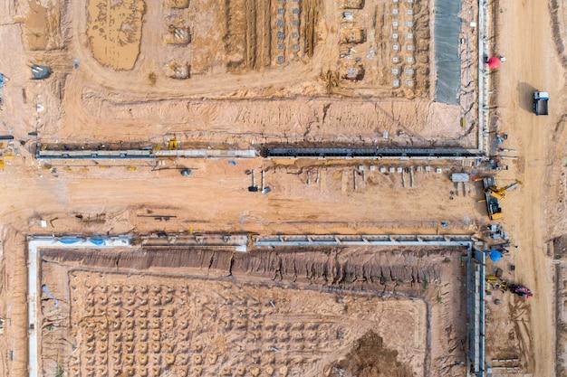 Luchtfoto gebouw bouwplaats