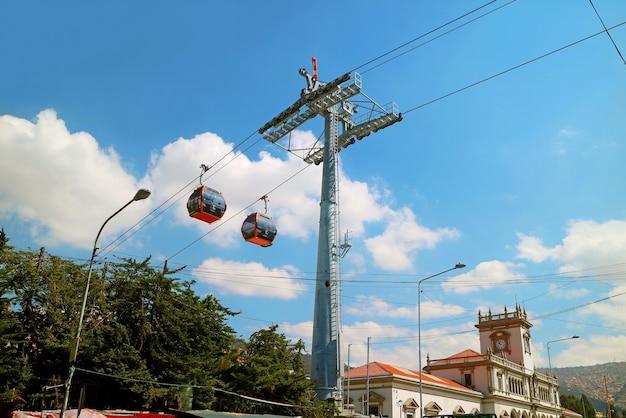 Luchtfoto kabelbaan stadsvervoersysteem genaamd mi teleferico in la paz, bolivia
