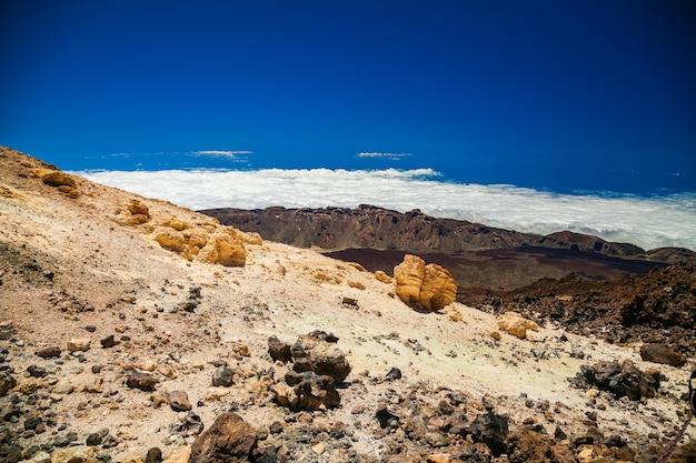 Luchtfoto landschap van de vulkanische berg teide in tenerife, spanje