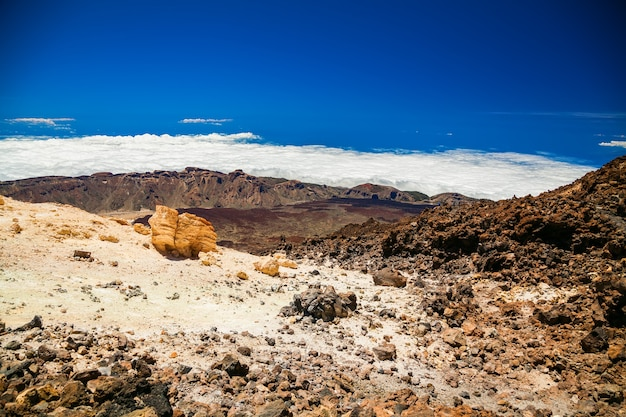 Luchtfoto landschapsmening vanaf de top van de vulkanische berg teide in tenerife, spanje