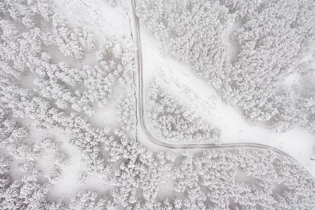 Luchtfoto op de weg en het bos in de wintertijd. sneeuw bos, natuurlijk de winterlandschap.