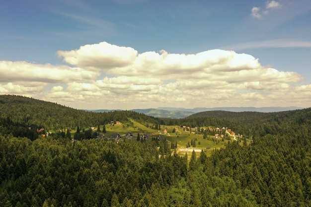 Luchtfoto op het bergbos op een zomerdag