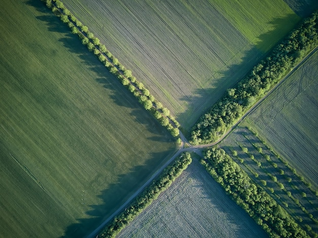 Luchtfoto over de landbouwvelden