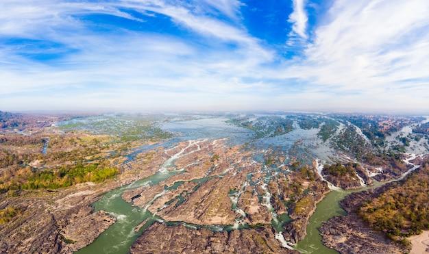 Luchtfoto panoramisch 4000 eilanden mekong rivier in laos