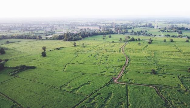 Luchtfoto's van drones landelijke groene landbouwgrond
