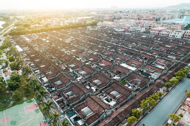 Luchtfoto's van oude stad in chaoyang district, shantou city, china
