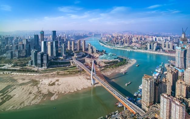 Luchtfoto skyline chongqing stad architectuur skyline