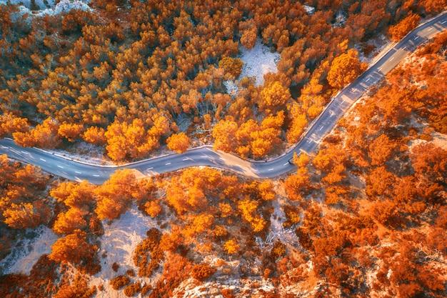 Luchtfoto van berg kromme weg met auto's, oranje bos bij zonsondergang in de herfst