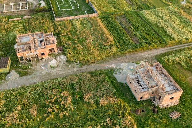 Luchtfoto van bouwterrein voor toekomstig huis