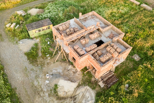 Luchtfoto van de bouwplaats.