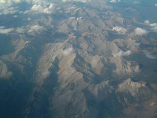 Luchtfoto van de canadese rockies, alberta