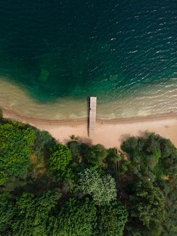 Luchtfoto van de kust van het meer met de pier, het zandstrand en het bos