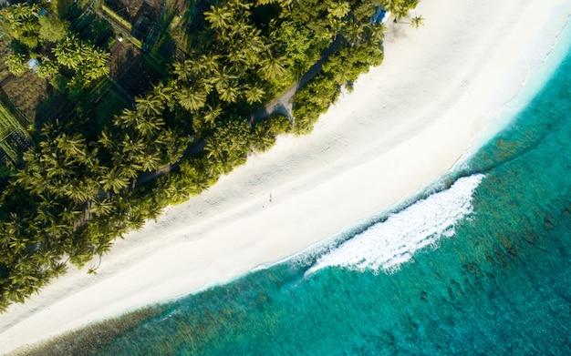 Luchtfoto van de malediven met het prachtige strand, de helderblauwe zee en de jungle