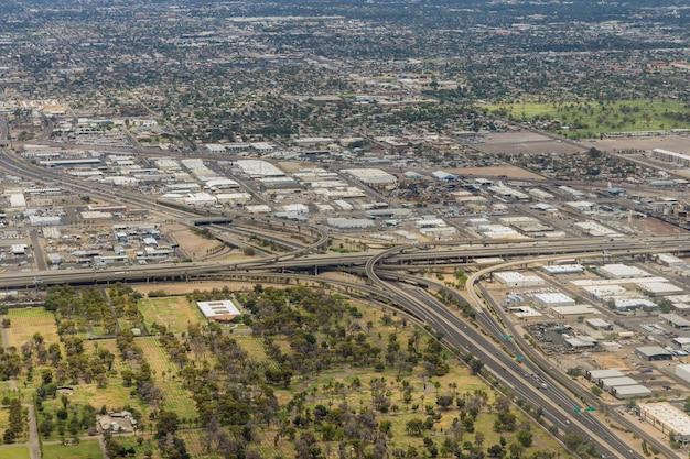 Luchtfoto van de ministack-uitwisseling in phoenix, arizona, vs