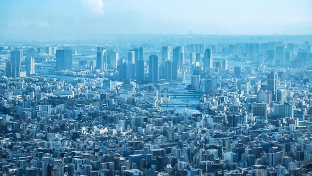 Luchtfoto van de new york gebouwen op een bewolkte dag