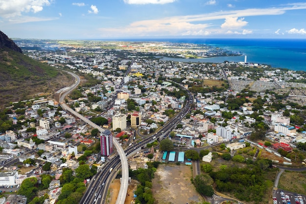 Luchtfoto van de stad port-louis, mauritius, afrika.