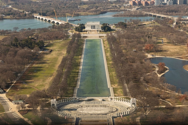 Luchtfoto van de stad washington dc, verenigde staten.