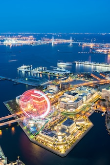 Luchtfoto van de stad yokohama