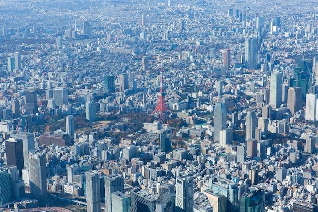 Luchtfoto van de tokyo tower