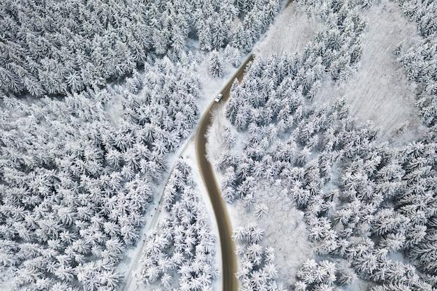 Luchtfoto van de weg met een witte auto in het winterbos met hoge dennen- of sparren bedekt met sneeuw. rijden in de winter.
