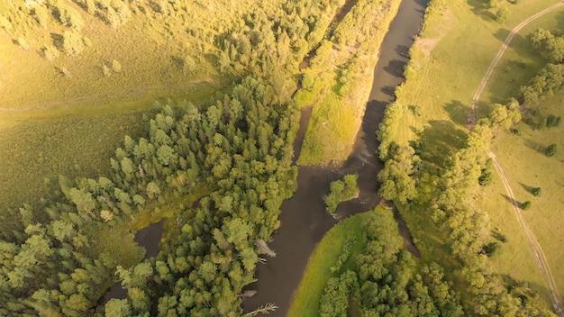 Luchtfoto van drone over kromme rivier, weide, landweg en bos. bovenaanzicht beekjes en naaldbomen.