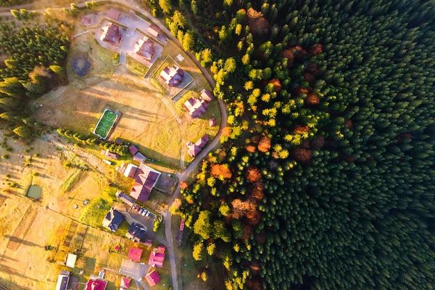 Luchtfoto van een dorpshuis in de buurt van dicht groen dennenbos met luifels van sparrenbomen