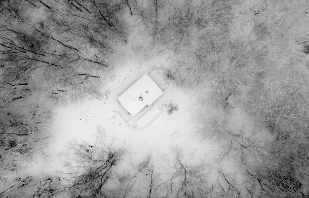 Luchtfoto van een huis omgeven door bladerloze bomen in zwart-wit