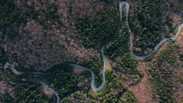 Luchtfoto van een kronkelende weg omgeven door greens en bomen
