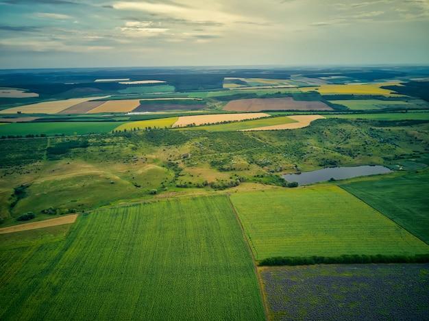 Luchtfoto van een landschap met lavendel en tarweveld