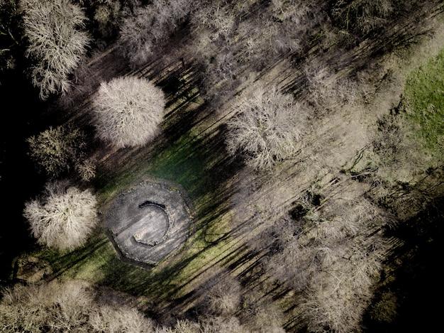 Luchtfoto van een open haard omgeven door bladloze bomen op een grasveld overdag