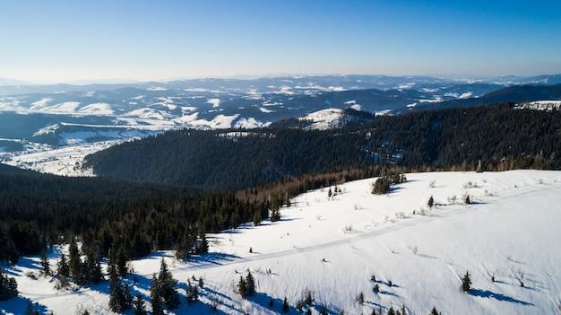Luchtfoto van een prachtig pittoresk landschap van sparrenbos groeit op heuvels en bergen op een ijzige zonnige dag buiten de stad tegen blauwe hemel. . bergvakantie concept