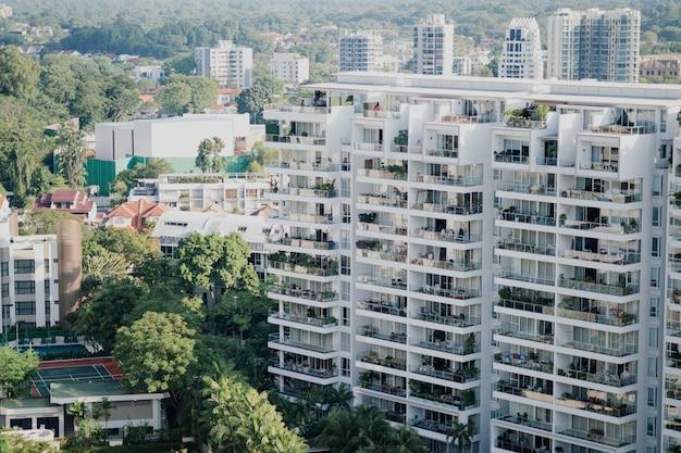Luchtfoto van flatgebouwen