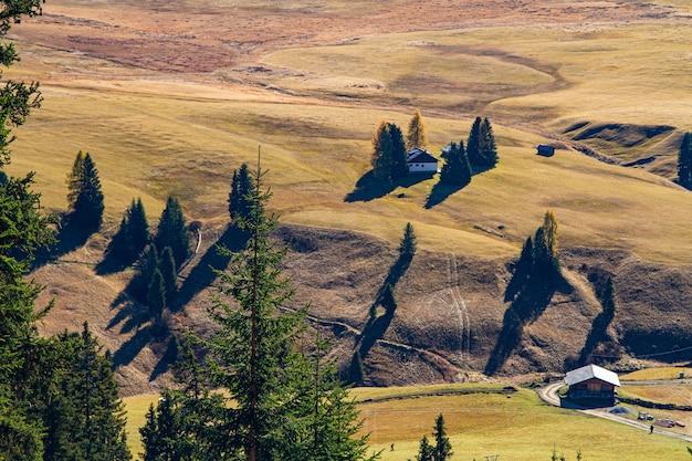 Luchtfoto van gebouwen op een met gras begroeide heuvel in de buurt van groene bomen in dolomiet italië
