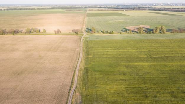 Luchtfoto van gecultiveerd gewas
