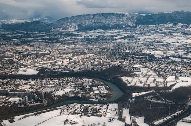 Luchtfoto van genève, zwitserland