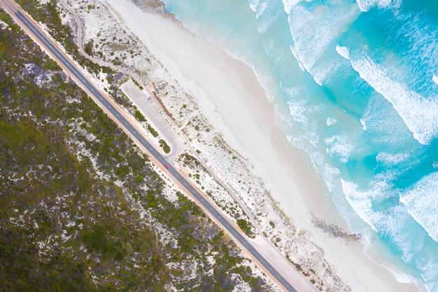 Luchtfoto van great ocean drive in esperance, west-australië, australië. reizen en vakantie concept.