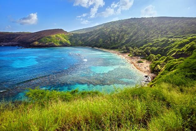 Luchtfoto van hanauma bay, oahu, hawaii