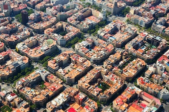 Luchtfoto van het district Eixample. Barcelona, ​​Spanje