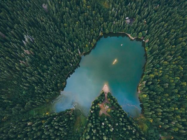 Luchtfoto van het herfstseizoen van het karpatenmeer synevyr